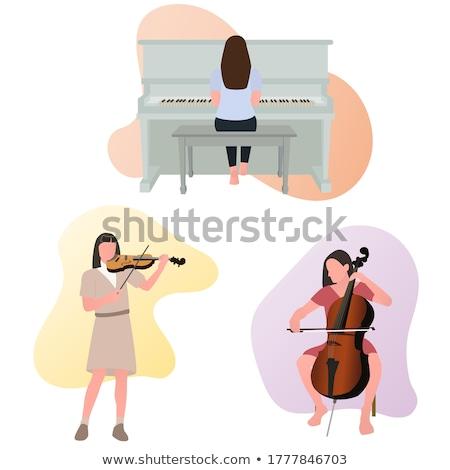 Nő játszik zongora fiatal mosolyog zenész Stock fotó © RAStudio