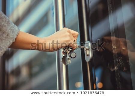 voordeur · vrouwelijke · hand · slot · home · metaal - stockfoto © hamik