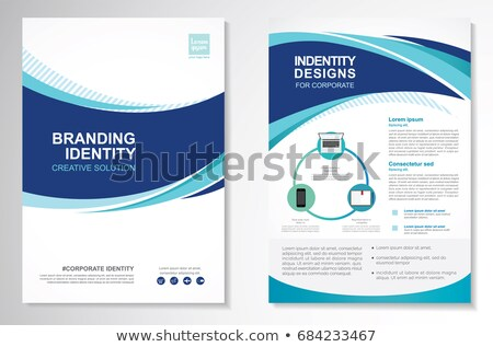 blue annual report business brochure with curve shapes Stock photo © SArts