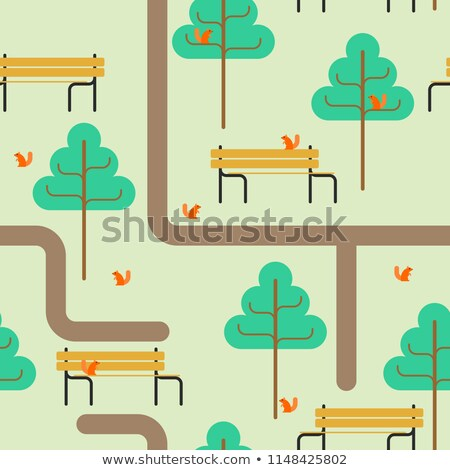 Park map. Path and tree. Bench and squirrel. Square landscape Stock photo © MaryValery