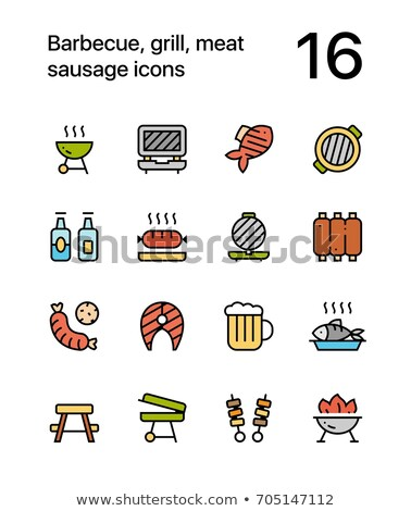 colorful barbecue grill meat sausage icons for web and mobile design pack 2 stock photo © karetniy