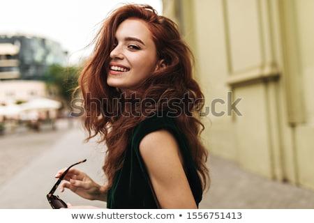 beautiful model in green dress with belt Stock photo © julenochek