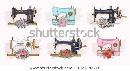 vintage · macchina · da · cucire · primo · piano · colorato · tessuto · design - foto d'archivio © arts