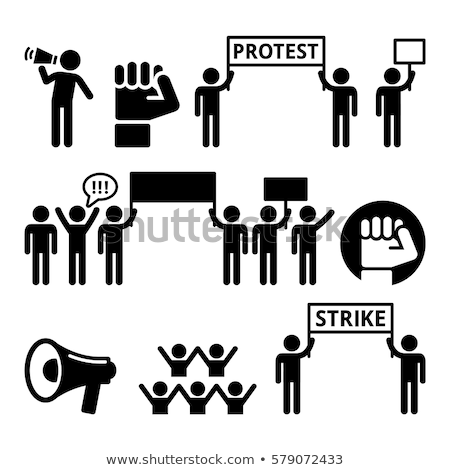 protest design strike people demonstrating or fighting for their rights vector icons set stock photo © redkoala