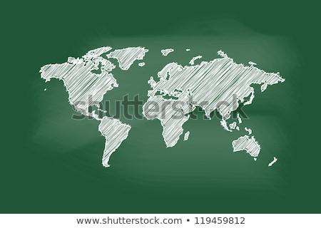 Tableau noir carte du monde leçon dessin à la craie école géographie Photo stock © romvo