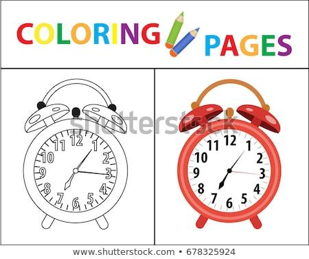 книжка-раскраска страница красный будильник эскиз Сток-фото © lucia_fox