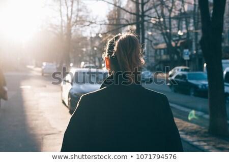 Sun glare down winter road Stock photo © pictureguy