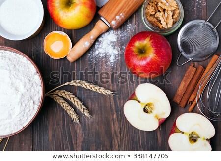 Appeltaart ingrediënten deegrol oude houten witte Stockfoto © StephanieFrey