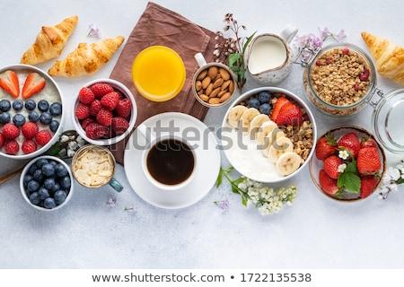 Detoxikáló reggeli szett görög joghurt granola Stock fotó © YuliyaGontar