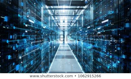 Hálózat számítástechnika adattárolás fémes gömb kék Stock fotó © make