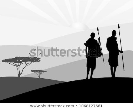 Foto stock: Africano · homens · silhueta · pôr · do · sol · ilustração