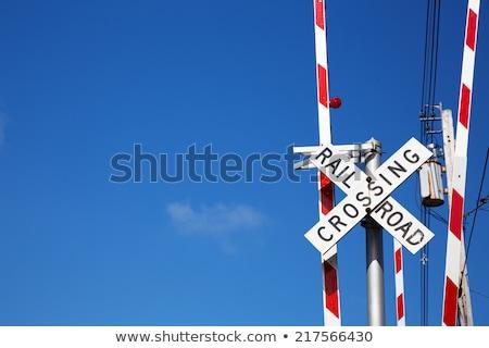 железная дорога знак Blue Sky пространстве фон путешествия Сток-фото © asturianu