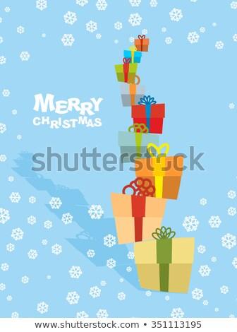 Torre regalos nevadas feliz Navidad muchos Foto stock © popaukropa