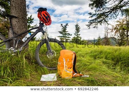 Hegyikerékpározás felszerlés erdő kaland utazás zöld Stock fotó © blasbike