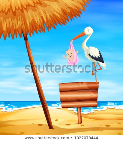 Stork baby delivering baby girl with ocean in background Stock photo © bluering
