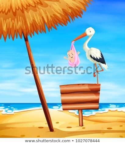 Foto stock: Cegonha · bebê · menina · oceano · ilustração · praia