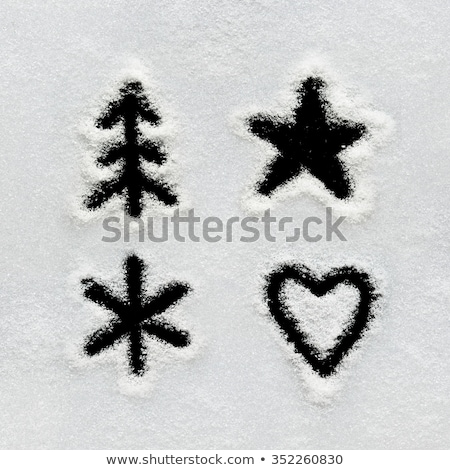 Heart symbol written in the snow Stock photo © Oakozhan
