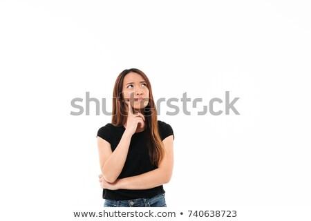 Jovem asiático mulher preto tshirt Foto stock © deandrobot