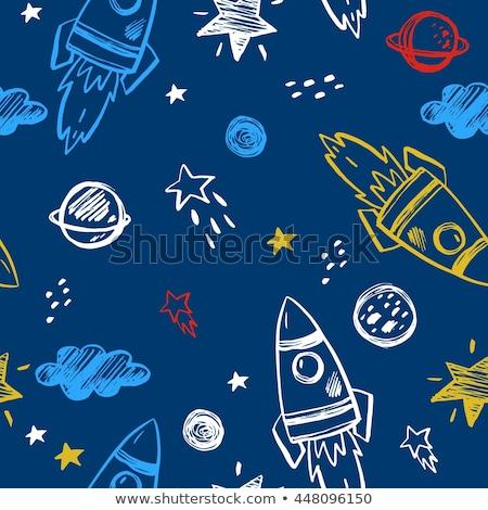 De kosmische ruimte schip naadloos illustratie kleurrijk ruimte Stockfoto © lenm