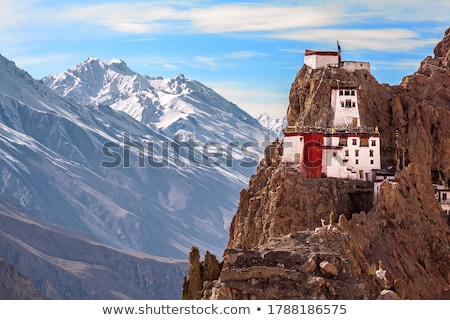 View of Spiti valley and Dhankar Gompa in Himalayas Stock photo © dmitry_rukhlenko