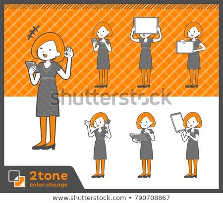 2tone type Bob hair dress woman_set 06 Stock photo © toyotoyo