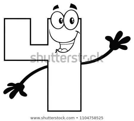 Siyah beyaz numara dört karikatür maskot karakter Stok fotoğraf © hittoon