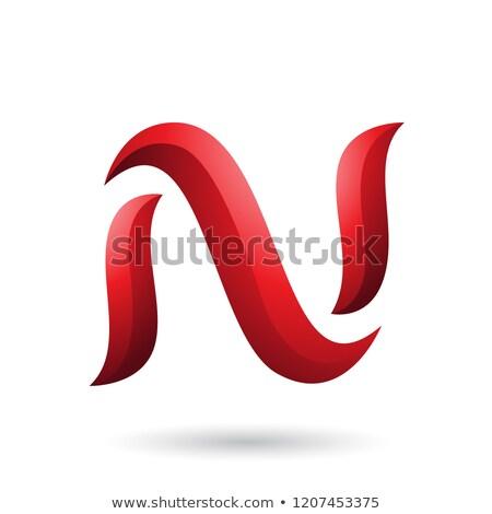 Red Snake Shaped Letter N Vector Illustration Stock photo © cidepix