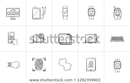 vector · business · hand · gezicht · klok - stockfoto © rastudio