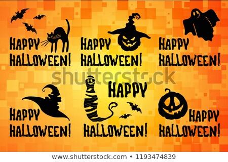 Feliz halloween título conjunto abóbora chapéu de bruxa Foto stock © TasiPas