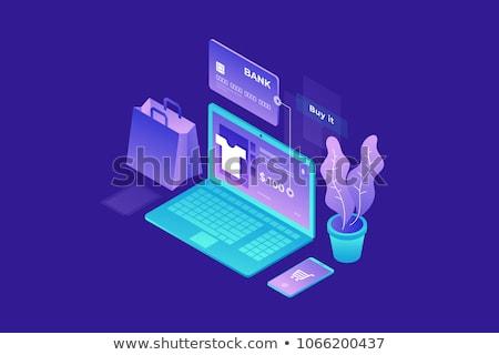 izometrikus · mobil · vásárlás · illusztráció · vásárló · mobiltelefon - stock fotó © rastudio