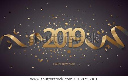 Stok fotoğraf: Happy · new · year · altın · sayılar · konfeti · karanlık · mutlu