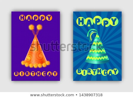 Happy Birthday Pair of Festive Hats Colorful Cards Stock photo © robuart