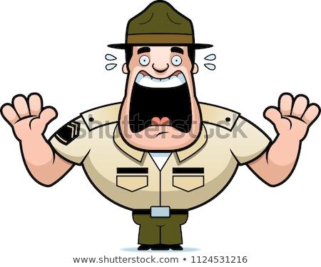 Foto d'archivio: Paura · cartoon · soldato · illustrazione · esercito · guardando