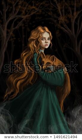 çekici kız yeşil karanlık duman çekici sevimli Stok fotoğraf © fotoduki