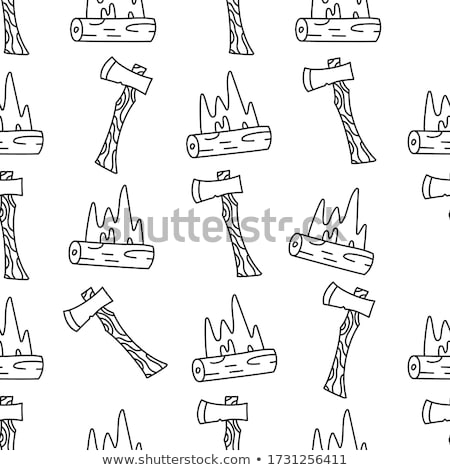 Stock photo: Vintage hand drawn camp axe symbol. Silhouette lumberjack equipment icon design. Stock illustration