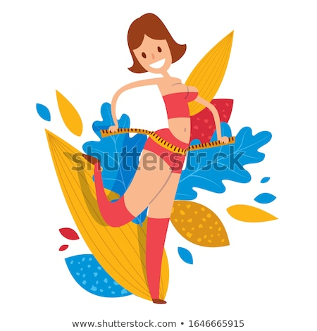 young fitness girl with measuring tape around her waist vector isolated illustration stock photo © pikepicture