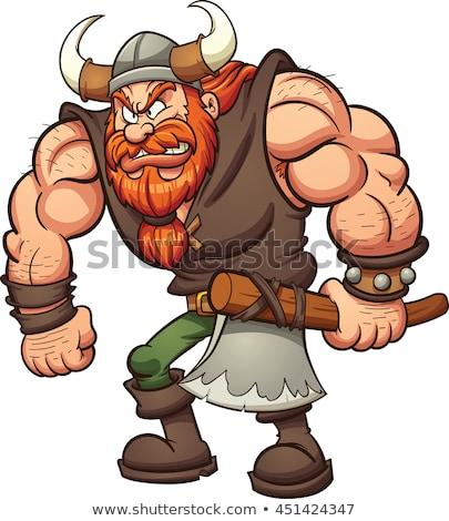 Cartoon Viking holding an axe Stock photo © bennerdesign