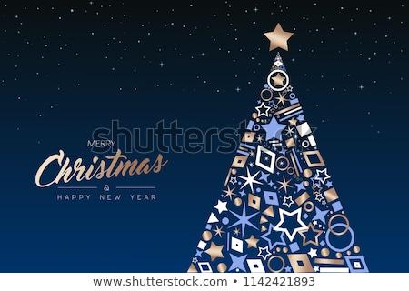 Noël nouvelle année cuivre arbre carte Photo stock © cienpies