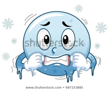 Smiley Mascot Freezing Illustration Stock photo © lenm