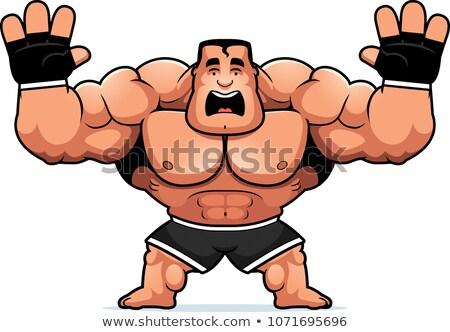 Cartoon combattente paura illustrazione guardando sport Foto d'archivio © cthoman