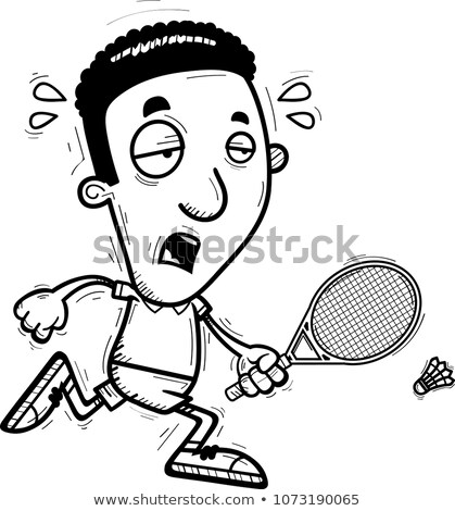 Exhausted Cartoon Black Badminton Player Stock photo © cthoman