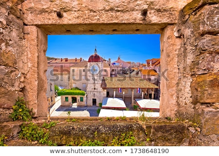 UNESCO Town of Trogir main square panoramic view stock photo © xbrchx