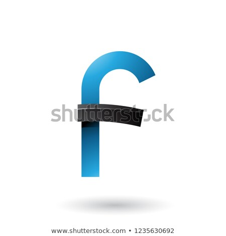 Blue and Black Bold Curvy Letter F Vector Illustration Stock photo © cidepix