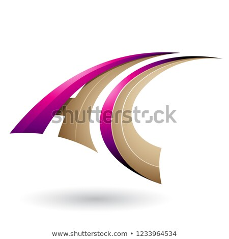 Magenta and Beige Dynamic Flying Letter C Vector Illustration Stock photo © cidepix