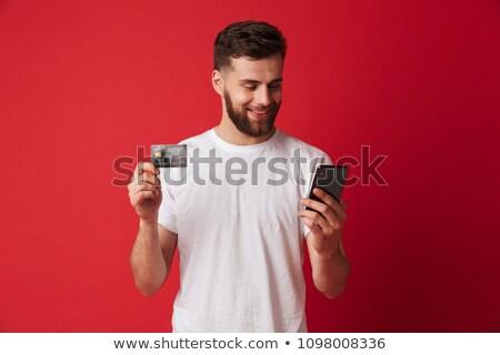 Zdjęcia stock: Portret · wesoły · młody · człowiek · odizolowany · czerwony