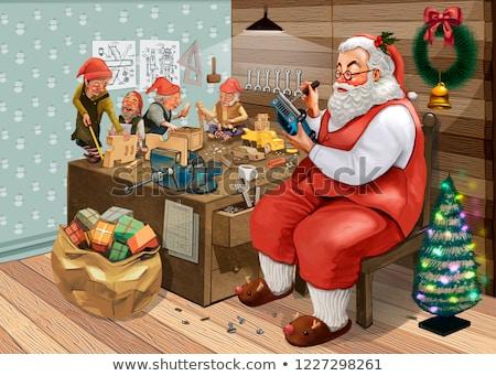 Stok fotoğraf: Noel · baba · oturma · büro · atölye · oyuncaklar
