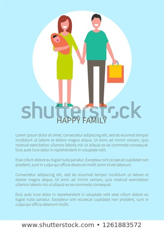 Happy Family Does Shopping Vector Parents and Girl Stock photo © robuart