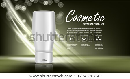 Cosmetic Bottle Banner Vector. Elegant Woman. Female Hygiene. Exhibition Brochure. Jar Blank. Glossy Stock photo © pikepicture