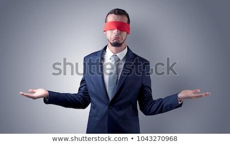 нерешительный · покрытый · бизнесмен · глаза · женщину - Сток-фото © ra2studio