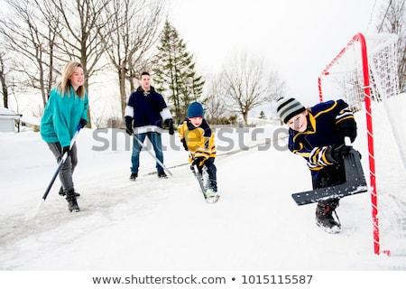 Mutlu komik oynayan çocuklar hokey baba anne Stok fotoğraf © Lopolo